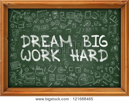 Green Chalkboard with Hand Drawn Dream Big Work Hard.