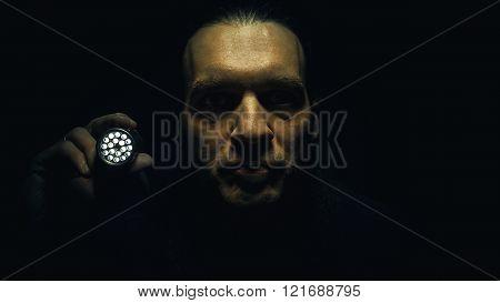 Afraid Man With Lamp