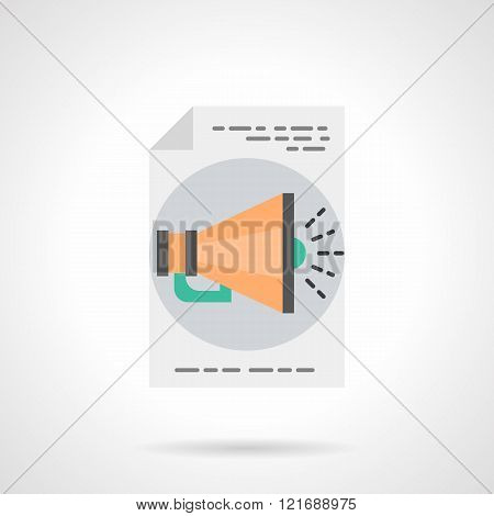Advertisement online flat color vector icon
