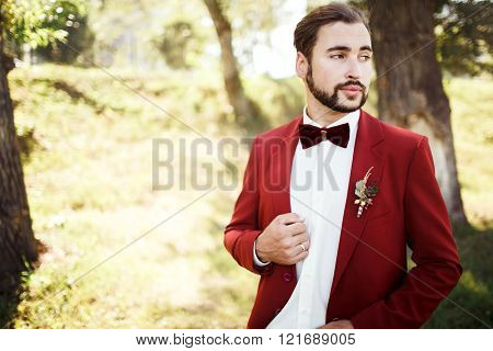 Stylish groom in tuxedo looking away suit marsala red, burgundy bow tie.