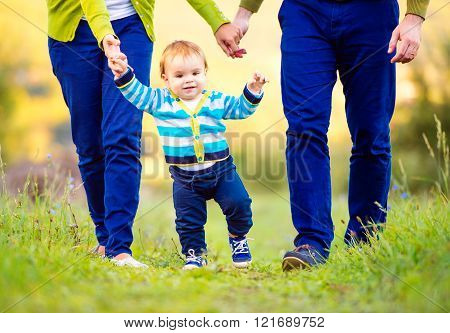 Parents holding hands of their son making first steps