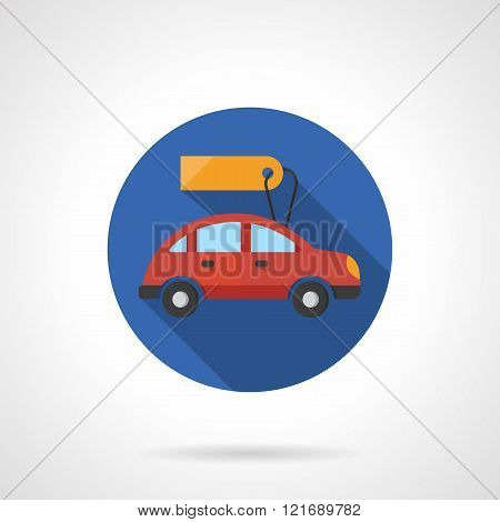 Red automobile with label flat color vector icon