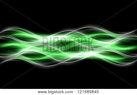 Green waves art. Blurred effect background. Abstract creative graphic design.