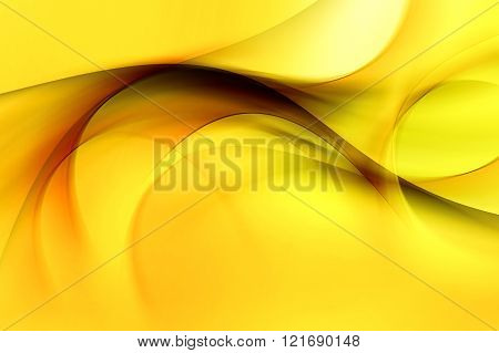 Yellow waves art. Blurred effect background. Abstract creative graphic design.