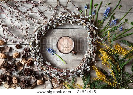 Spring easter composition with willow twigs wreath