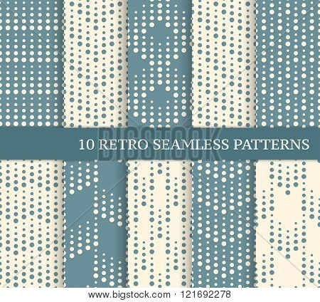 Ten different retro seamless patterns with dots. Zig zag and stripes made of dots with different size. Endless texture for wallpaper web page background wrapping paper and etc. Retro style.