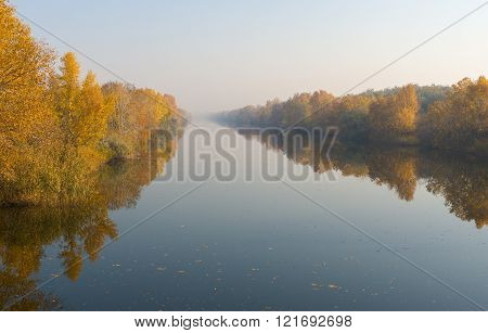 Morning mist on an autumnal river Oril