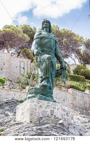 Abderrahman I statue in the town of Almuñecar in Granada - Spain.