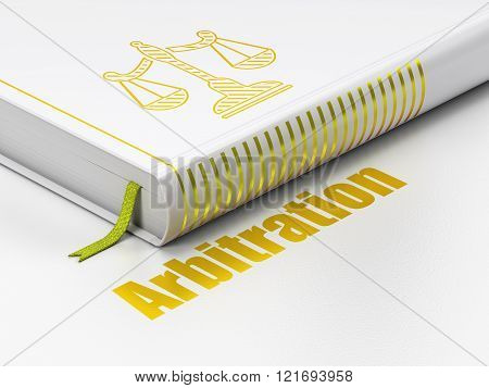 Law concept: book Scales, Arbitration on white background