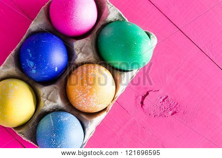 Six Colorful Hand Decorated Easter Eggs