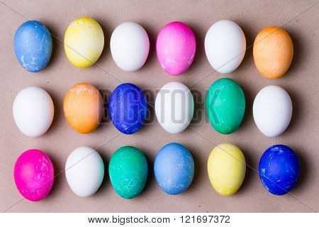 Neat Arrangement Of Colorful Dyed Easter Eggs