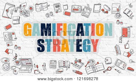 Gamification Strategy Concept with Doodle Design Icons.