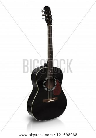 Black Acoustic Guitar Is Isolated On The White Background