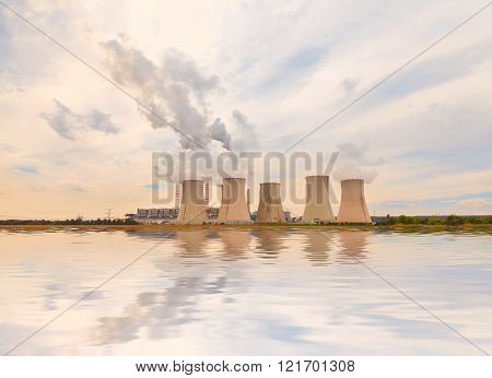 Thermal power plant reflected in the water, Czech Republic