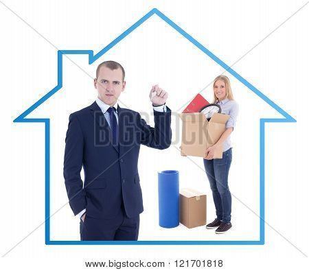 Moving Day Concept - Businessman Real Estate Agent Giving Key To Woman With Cardboard Box