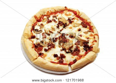 Bacon And Mushroom Pizza Isolated Over White