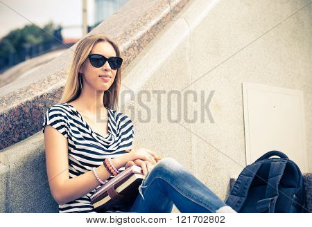 Student girl at staircase