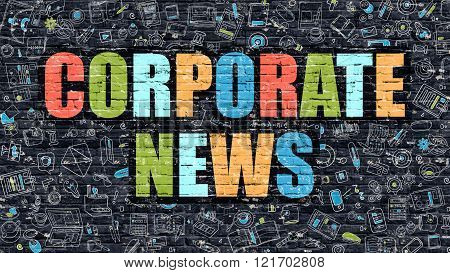 Corporate News Concept with Doodle Design Icons.