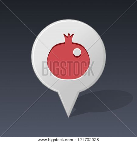 Garnet Pin Map Icon. Fruit Vector Illustration