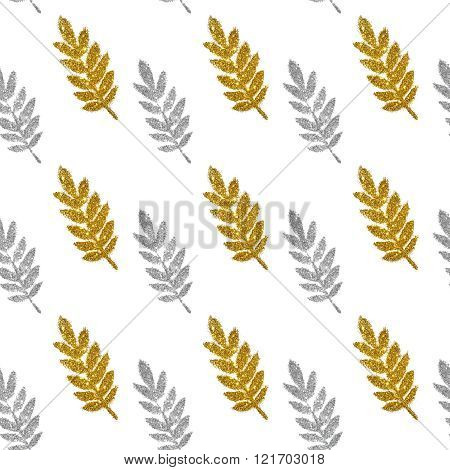 Leaves of silver and golden glitter on white background, seamless pattern