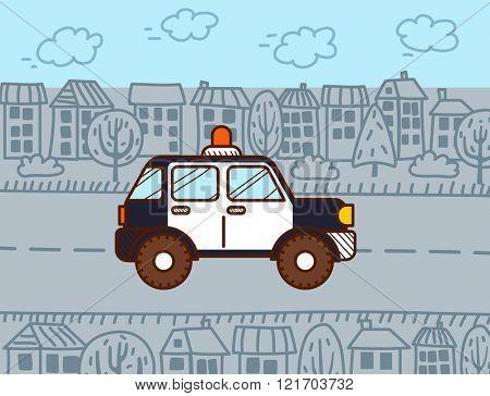 Police car. Vector Cartoon