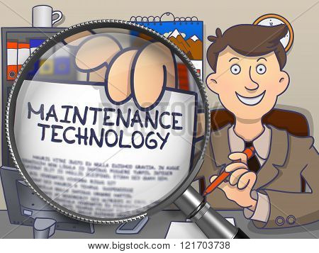 Maintenance Technology through Magnifying Glass. Doodle Style.