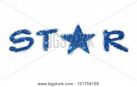 Word Star of blue glitter sparkle on white background