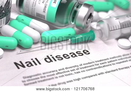 Nail Disease. Medical Concept with Blurred Background.