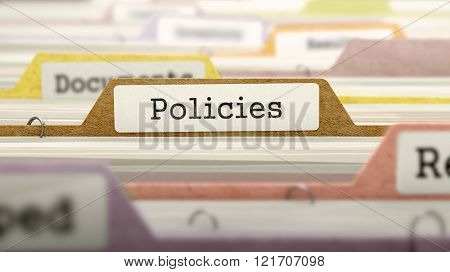 Policies Concept on File Label.