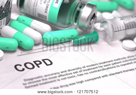 COPD Diagnosis. Medical Concept. Composition of Medicaments.