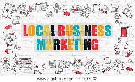 Local Business Marketing in Multicolor. Doodle Design.