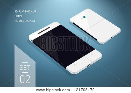 Minimalistic 3d isometric flat illustration of mobile phone. perspective view. Mockup generic smartphone. Template for infographics or presentation UI design