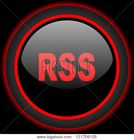 rss black and red glossy internet icon on black background