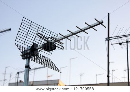 UHF Antenna in the roof of a building.