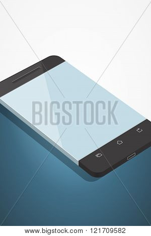 Minimalistic Illustration Of Phone In Flat Style. Perspective View. Mockup Generic Smartphone. Templ