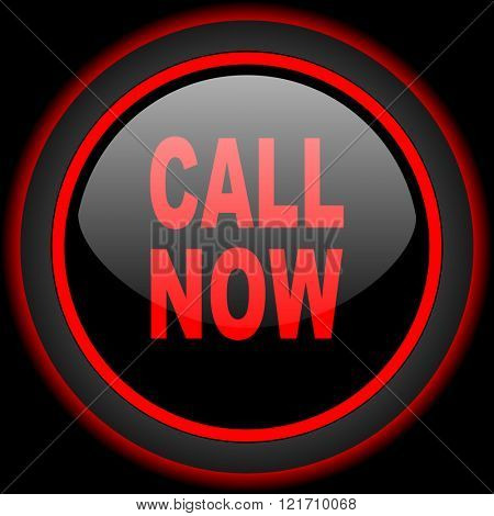 call now black and red glossy internet icon on black background