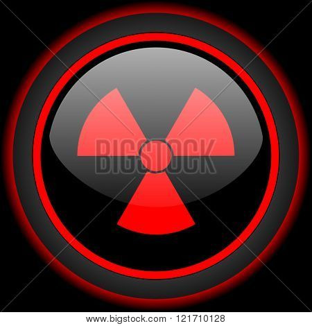 radiation black and red glossy internet icon on black background