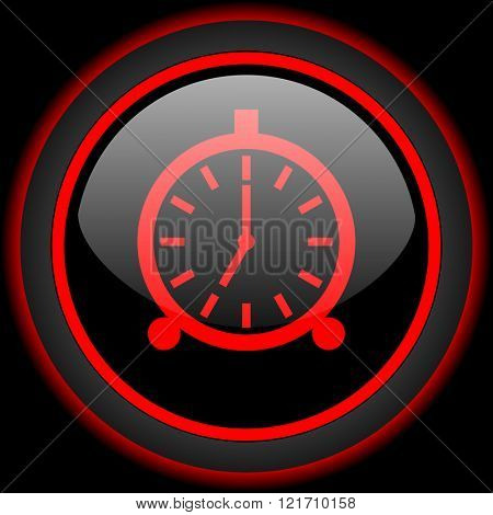 alarm black and red glossy internet icon on black background