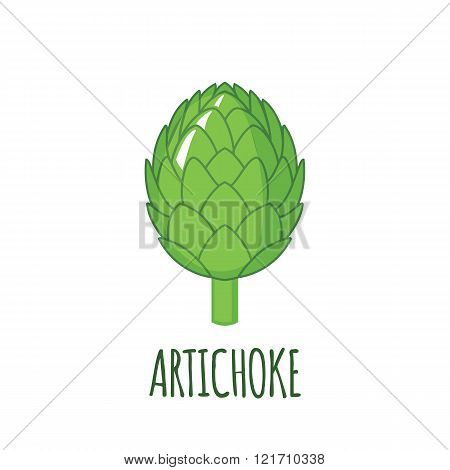Artichoke Icon In Flat Style On White Background