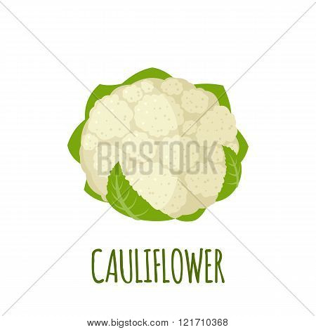 Cauliflower Icon In Flat Style On White Background