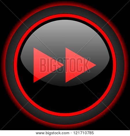rewind black and red glossy internet icon on black background