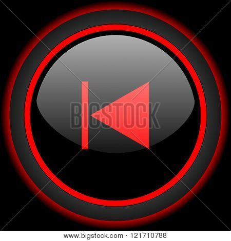 prev black and red glossy internet icon on black background
