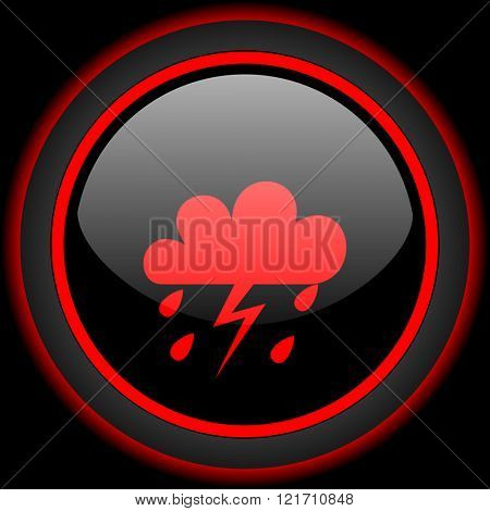 storm black and red glossy internet icon on black background