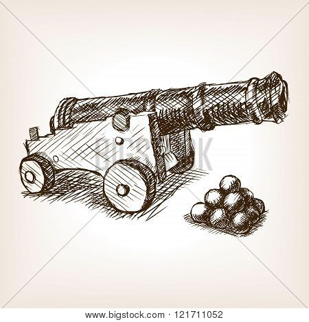 Old cannon hand drawn sketch vector
