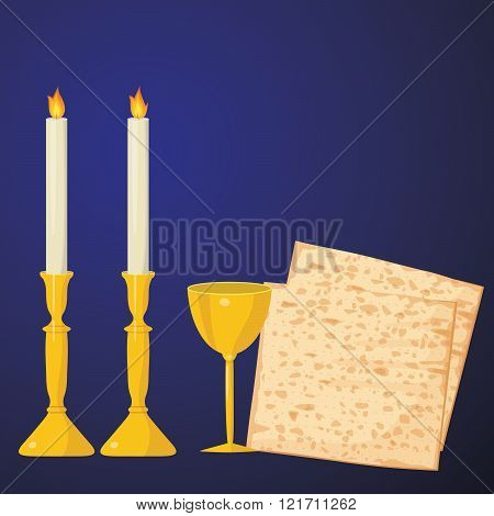 Matzoh And Wine On A Blue Background.jewish Passover Holiday.