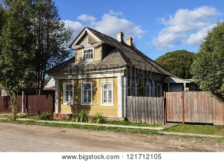 Old Yellow Wooden House In The Country