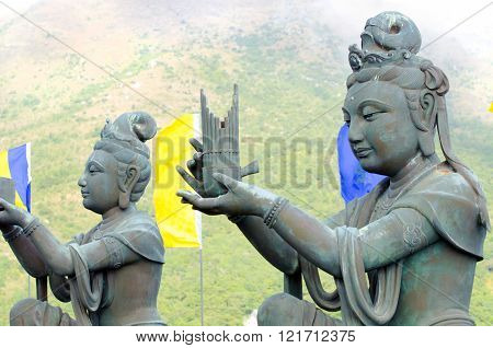 Buddhist statues at Po Lin Monastery, Hong Kong, China