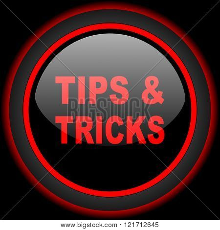tips tricks black and red glossy internet icon on black background