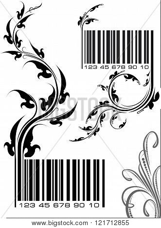Pair Of Vector Illustrations - Bar Codes With Floral Branch. Can Use As Conceptual Ecological Design