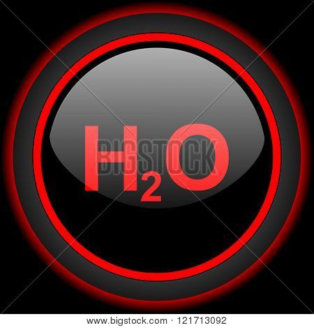 water black and red glossy internet icon on black background